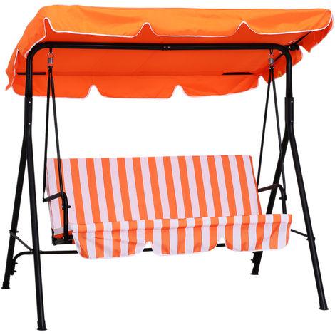 Balancelle de jardin 3 places toit imperméabilisé inclinaison réglable coussins assise et dossier 1,72L x 1,1l x 1,52H m acier noir polyester orange