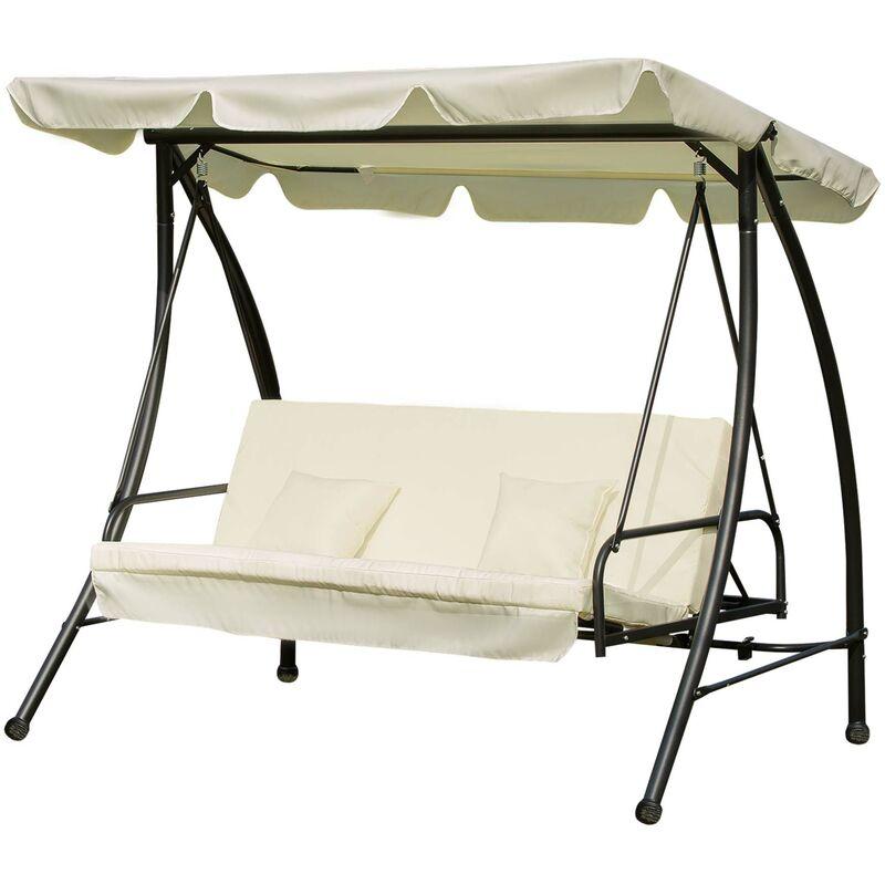 Balancelle de jardin convertible 3 places grand confort inclinaison toit réglable matelas et coussins fournis 2L x 1,25l x 1,7H m métal polyester