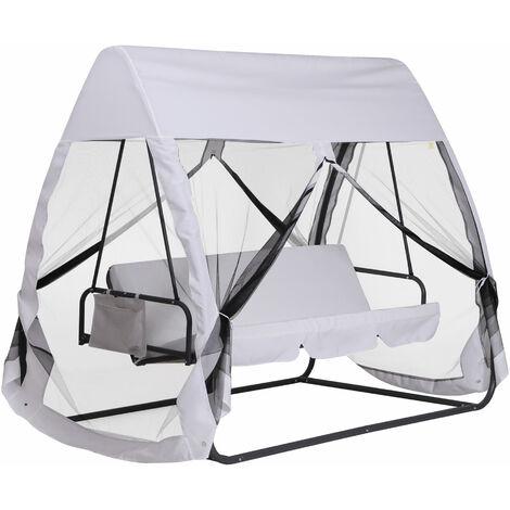 Balancelle de jardin convertible 3 places grand confort : matelas assise dossier, moustiquaire intégrale zippée avec toit, pochette rangement métal époxy polyester blanc