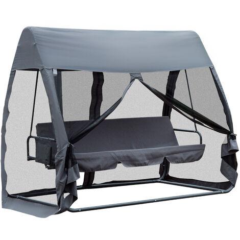 Balancelle de jardin convertible 3 places grand confort : matelas ...