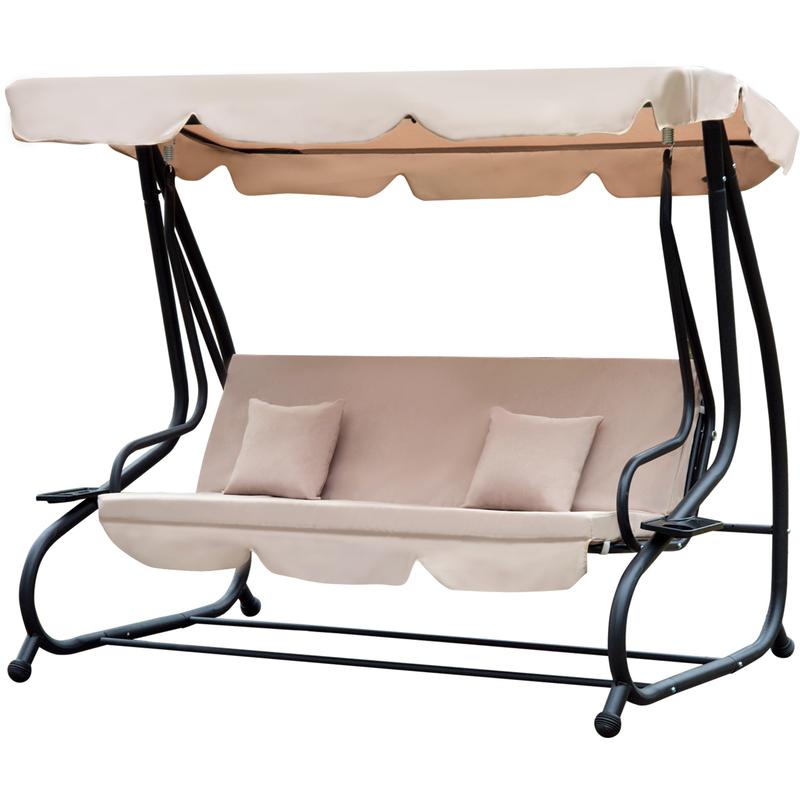 Balancelle de jardin convertible 3 places inclinaison toit réglable 2 tablettes + matelas 2L x 1,2l x 1,64H m métal époxy noir polyester beige