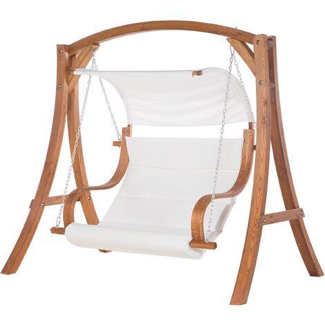 Balancelle de jardin en bois avec coussin blanc cassé APRILIA