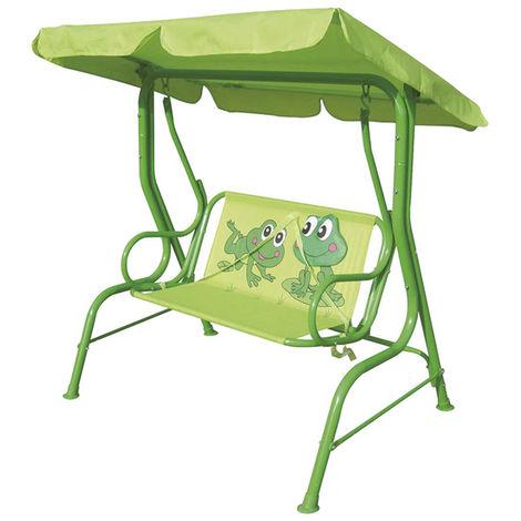 Balancelle de jardin enfant Grenouille avec pare soleil coloris Vert - 115 x 75 x H110 cm -PEGANE-