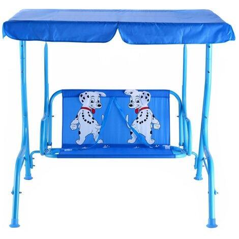 """main image of """"Balancelle de jardin pour enfants 2 places toit anti-uv balançoire jardin pour enfants chaise bascule pour enfants bleu - Bleu"""""""