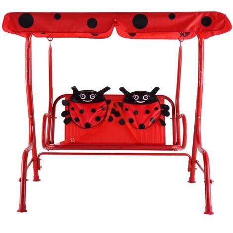 """main image of """"Balancelle de jardin pour enfants 2 places toit anti-uv balançoire jardin pour enfants chaise bascule pour enfants rouge - Rouge"""""""