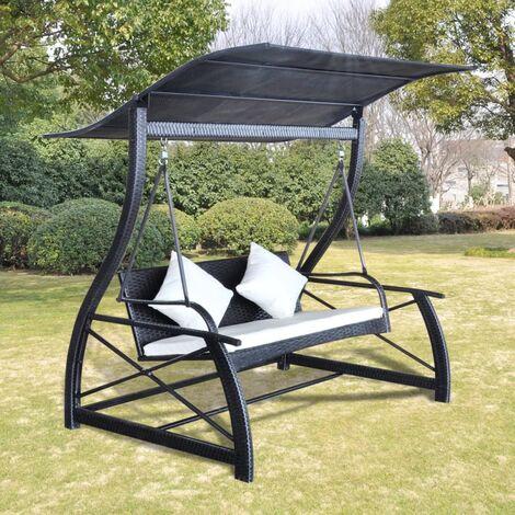 Balancelle de jardin Rotin synthétique Noir 167x130x178cm ...