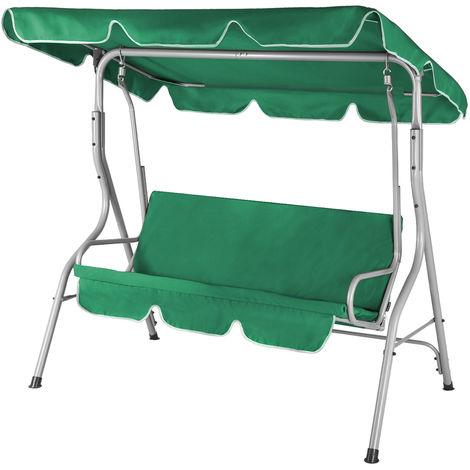 Balancelle de jardin terrasse - Crème - 3 personnes - Structure en acier solide - Max 250 Kg - Toit réglable avec protection UV