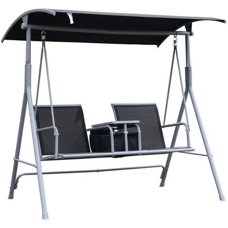Balancelle design de jardin 2 places grand confort inclinaison toit réglable tablette support rangement et accoudoirs 170L x 110l x 165H cm acier gris clair noir