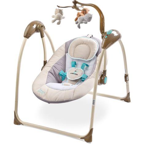 Balancelle électrique avec mode de détection vocale mobile mélodies télécommande bébé enfant 1m+ 12kg Loop - Beige