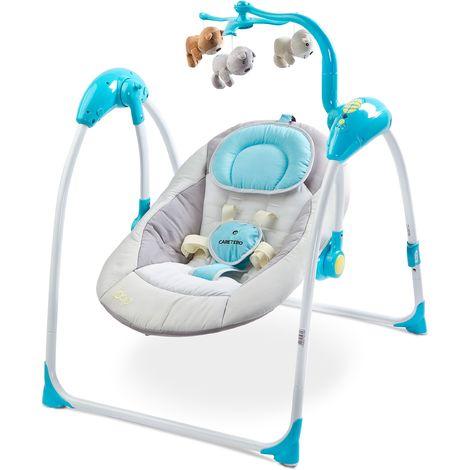 Balancelle électrique avec mode de détection vocale mobile mélodies télécommande bébé enfant 1m+ 12kg Loop - Bleue