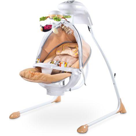 Balancelle électrique mobile rotatif lumières moustiquaire bébé enfant 0-12kg Bugies - Beige