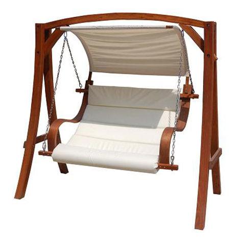 Balancelle jardin 2-3 places - meuble jardin - bois larix - auvent ...