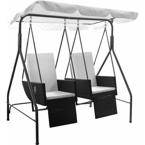 Balancelle noire 2 places avec fauteuils inclinables en ploryrotin