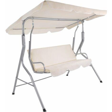 Balancelle sur pied assise fauteuil meuble jardin 3 personnes beige - Beige