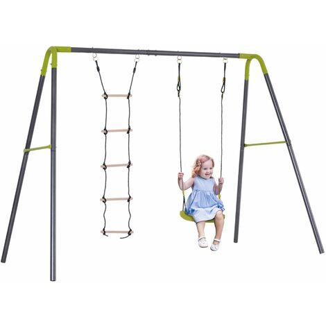 Balançoire 2 agrès portique avec balançoire et échelle dim. 2,55L x 1,38l x 1,80H m métal époxy anticorrosion PE gris anthracite vert pomme