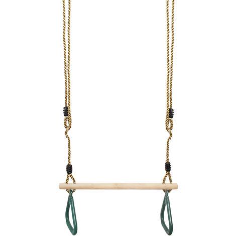 Balançoire avec Anneaux de Gymnastique, Trapèze en Bois, Vert, 200 cm, Matériau: Plastique (PP, PE), Bois