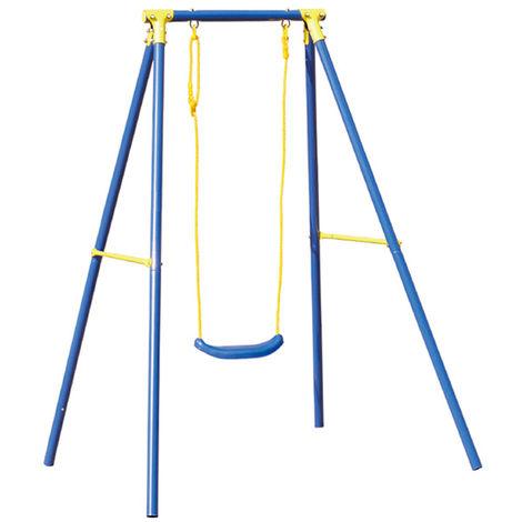 Balançoire balancelle 2 places structure acier pour enfant 3-12 ans jeu A1527002