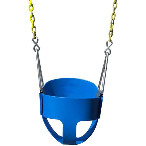 Balançoire Bébé, Chaise Balançoire, Dossier Haut, Siège de Balançoire Bébé/Enfant Plein Seau, Seau de Jardin en Plein Air, Bleu - Bleu