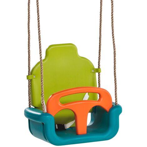 Balançoire bébé évolutive bleu, orange et vert, 455 x 300 x 465 mm