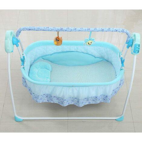 Balançoire bébé + moustiquaire automatique pour bébé avec 12 musiques Lit à bascule bébé jusqu'à 25 kg + 1 télécommande + 1 tapis + 1 coussin + 1 moustiquaire Bleu