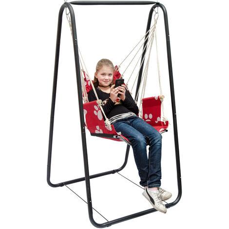 Balançoire complète: chaise + châssis en métal | Pour les enfants et les adultes | Avec accoudoirs et dossier | en nylon rembourrée | pour la maison et le jardin | rouge avec empreintes de chat