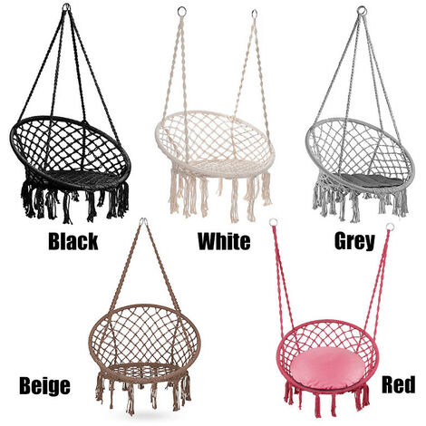 Balançoire de chaise de hamac Max 260LBS, chaise d'oscillation de hamac de macramé de corde de coton suspendue de 49.2 pouces pour la maison d'intérieur, extérieure, patio, porche, terrasse, cour, gris de jardin gris