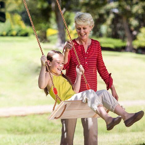 Balançoire en Bois Extérieur Jeux de Jardin Adultes Enfants 40x16x1.2cm