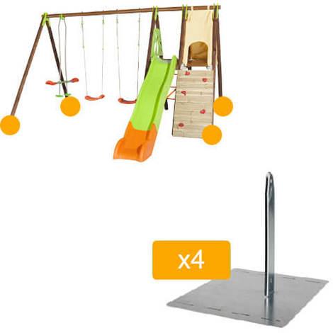 Balançoire en bois/métal TECHWOOD PREMIUM - APPOLO - Trigano - Balançoire + kit de scellement (4 piquets en métal de fixation)