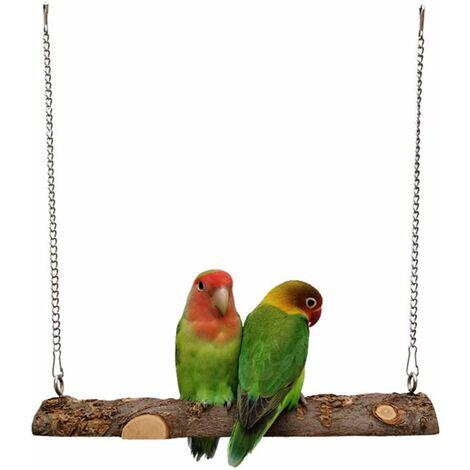 """main image of """"Balançoire en Bois pour Oiseau, Balançoire Perroquet, Jouets pour Oiseaux en Bois Pomme Naturel, Balançoires à Oiseaux pour perroquets, perruches"""""""