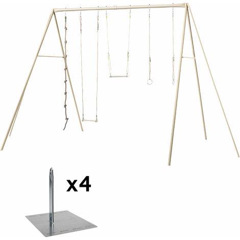 Balançoire en métal 4 agrès ado/adultes - modèle BAXTER - Balançoire + kit de scellement (4 piquets en métal de fixation)