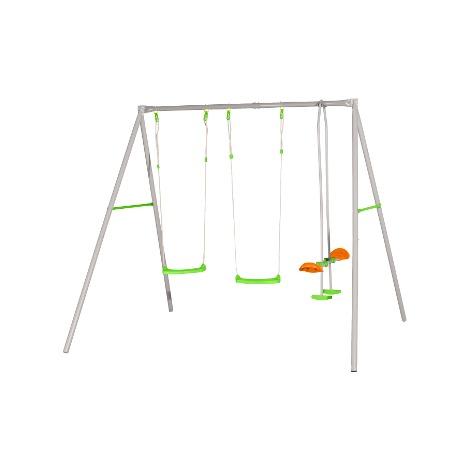 Balançoire en métal avec 3 agrès pour 4 enfants - Axion - modèle LOUISE - Balançoire seule