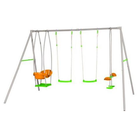 Balançoire en métal avec 4 agrès pour 6 enfants - Axion - modèle JADE - Balançoire seule