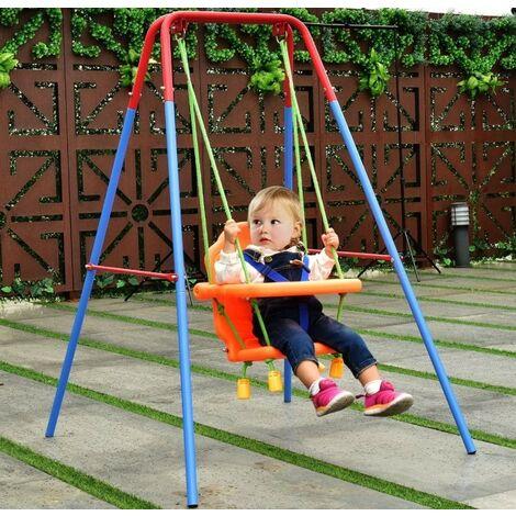 Balançoire et Portique Bébé Siège Balançoire pour Bébé en Plastique PE+PP 107 x 96 x 131 cm Capacité de Charge de 25 kg