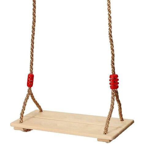 Balançoire extérieure en bois , siège de balançoire, balançoire pour enfants, balançoire pour enfants réglable en hauteur, chargeable jusqu'à 160 kg Résistant à la pluie, cordes réglables, largeur d'assise 37 cm