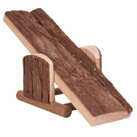 Balançoire, hamster, en bois d'écorce - 22 × 7 × 8 cm