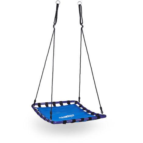 Balançoire nid d'oiseau carré pour le jardin à suspendre HxlxP: 153 x 98 x 74 cm poids max 113 kg, bleu noir