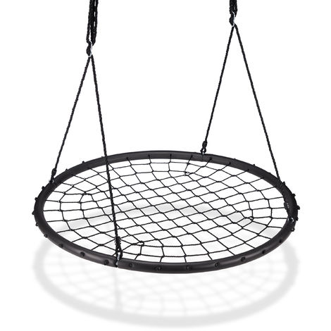 Balançoire nid d'oiseau maille filet 120 cm à suspendre ajustable enfant adulte jardin extérieur 150 kg, noir