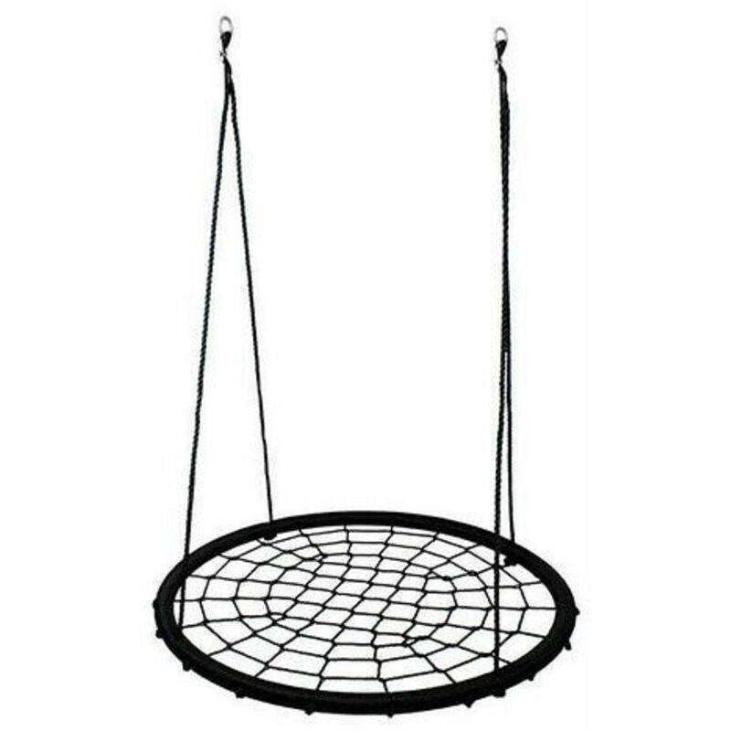 Balançoire nid d'oiseau maille filet 120 cm à suspendre ajustable enfant adulte jardin extérieur 200 kg, noir - JEOBEST