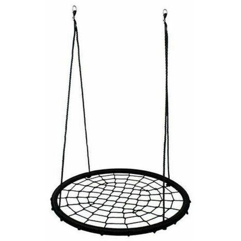 Balançoire nid d'oiseau maille filet 120 cm à suspendre ajustable enfant adulte jardin extérieur 200 kg, noir