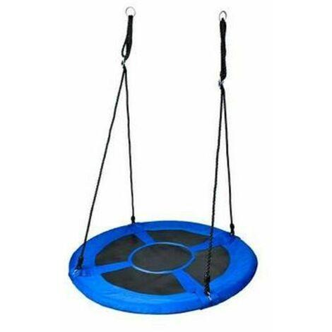 Balançoire nid d'oiseau rond 110 cm à suspendre enfant adulte jardin extérieur Ø 110 cm, 100 kg, Bleu - Bleu