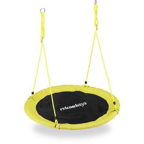 Balançoire nid d'oiseau rond 110 cm à suspendre enfant adulte jardin extérieur Ø 110 cm, 100 kg, jaune