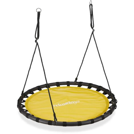Balançoire nid d'oiseau rond 120 cm à suspendre enfant adulte jardin extérieur 100 kg