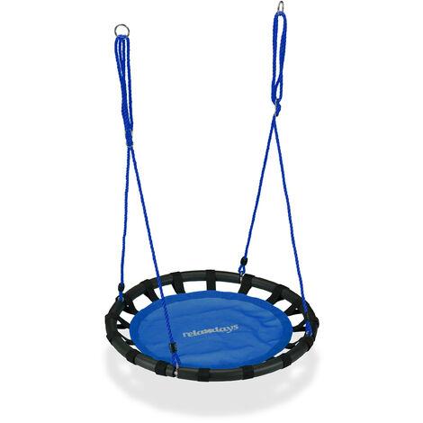 Balançoire nid d'oiseau rond 80 cm à suspendre panier enfant adulte jardin extérieur 100 kg , bleu
