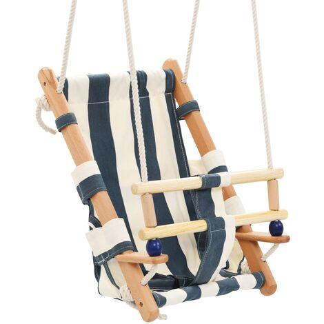 Balançoire pour bébé avec ceinture de sécurité Coton Bois Bleu