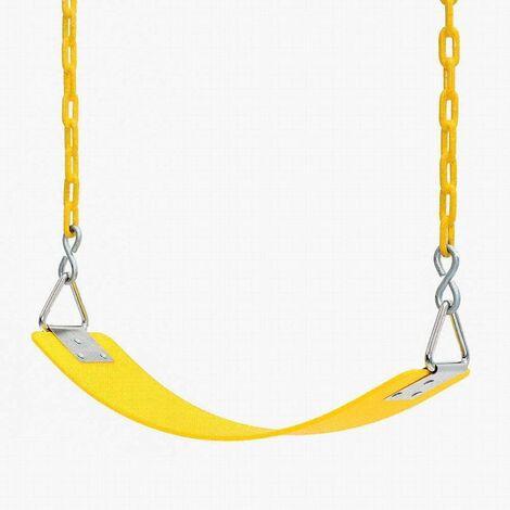 Balançoire pour enfants Eva Board Single Indoor Balançoire extérieure avec pièce de fer triangulaire nickelée avec chaîne Balançoire pour enfants pour installations de divertissement-64x15 × 0.8cm jaune