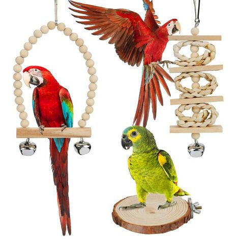 Balançoire pour oiseaux - rotin naturel - avec cloches et perche - pour perroquets / perruches / calopsittes / pinsons / cacatoès / aras / perroquets gris
