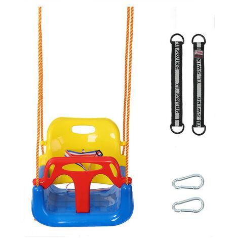 Balancoire Siège Bébé 3 En 1 pour Bébé Siège Dossier Accoudoir Amovible Anti-renversement (Multicolore)