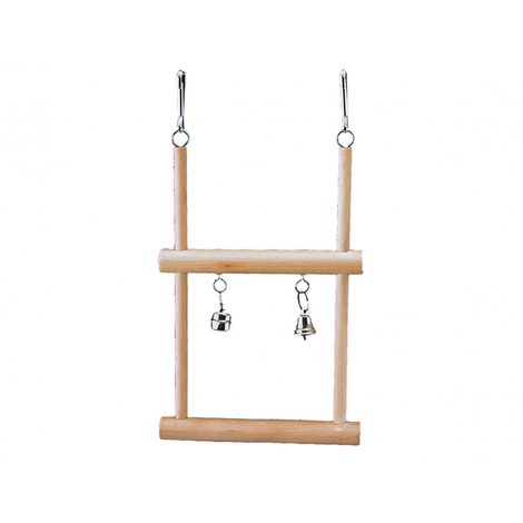 Balancoire trapèze bois+2 clchs 12,5x20,5cm
