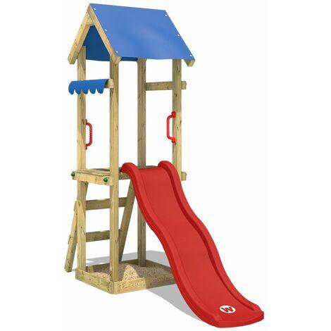 Balançoire WICKEY TinySpot Aire de jeux avec toboggan rouge, bac à sable et toit