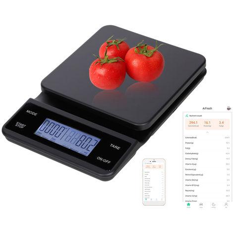 Balanza de cocina digital Escala Nutricion Alimentacion Alimentacion balanza de cocina BT con la calculadora nutricional y el temporizador de 3 kg / 0,1 g Touch Control 5 unidades de carga USB, 2 #